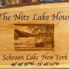 """Camp Sign 17X20"""" Cherry Live Edge Photo etched text carved."""