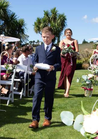 Ring Bearer and Bridesmaid Walk Down Aisle