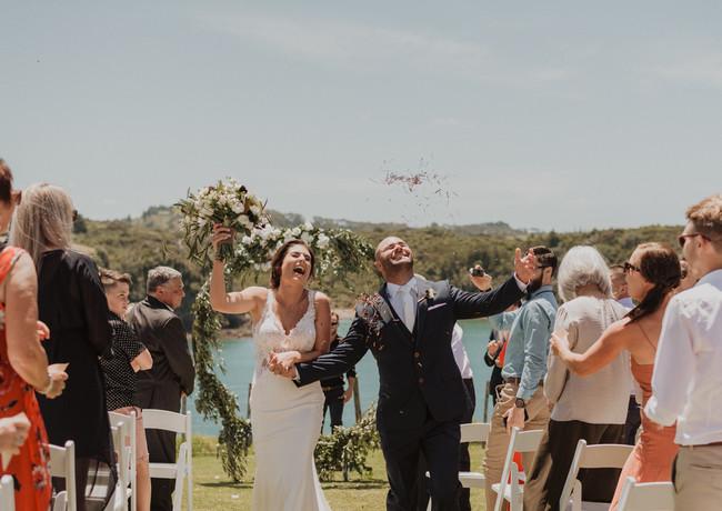 J&L Wedding Aisle Walk Moment