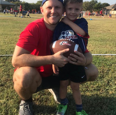 First day of coaching my son Deacon in football.