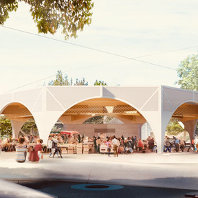 Construction d'une Halle Place de la Gaîté à Lacanau Baudrimont Benais Architectes Associés