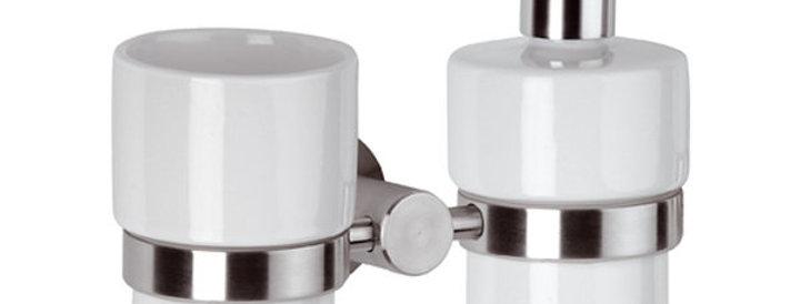 מתקן לסבון ומברשת שיניים | סדרת מינימל אינוקס
