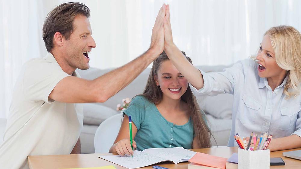 parents high five, pat on the back, math parents