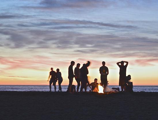 El acampar en la playa