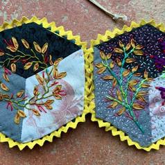 Tumbling Block / Silk Ribbon Embroidery Needle-case Workshop.