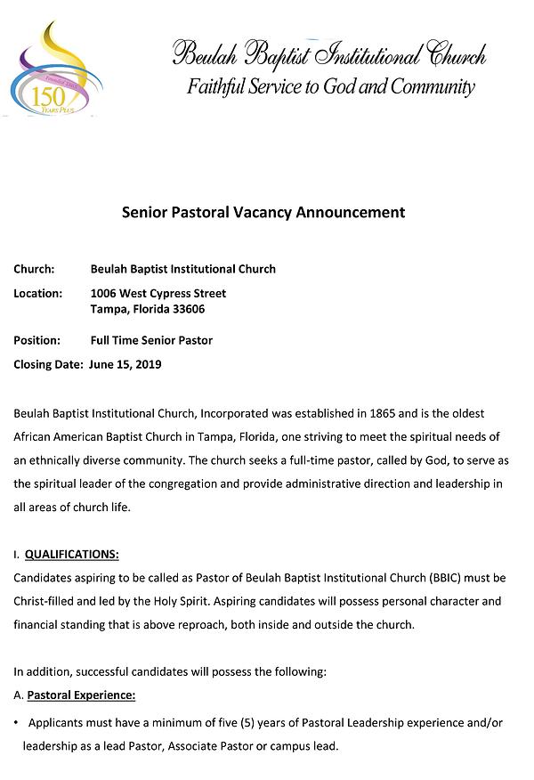 Beulah  Baptist draft doc pastoral vacan