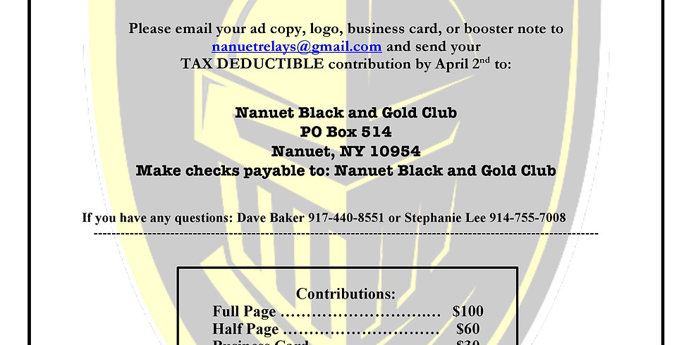 Nanuet Relays Program Book Ad Sponsorship