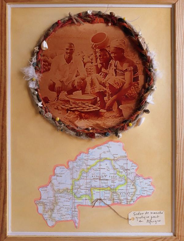 23. Markszene. Foto, grigris und Obervolta Karte.  40x30cm