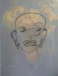 0. Afrika. Bleistiftporträt und Afrika Karte. 50x40cm