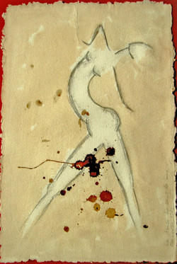 12. Der Tanz des Mondbluts. Zeichnung und Blut. 26x19cm