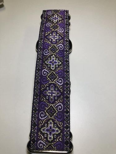 "Purple and gold 1.5"" martingale"