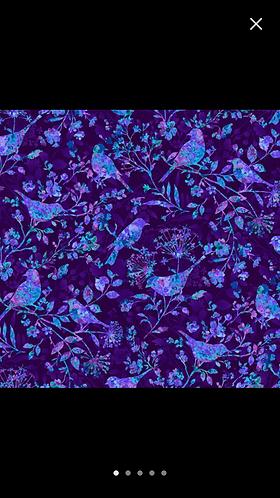 Feather & Floral Birds Purple Martingale