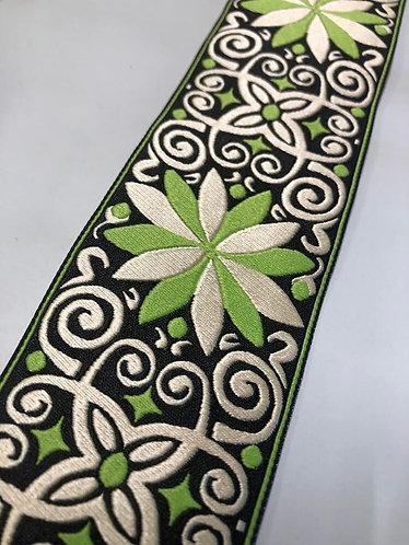 Green jacquard fancy collar