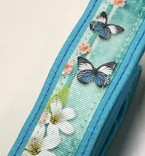 Teal blue butterfly collar