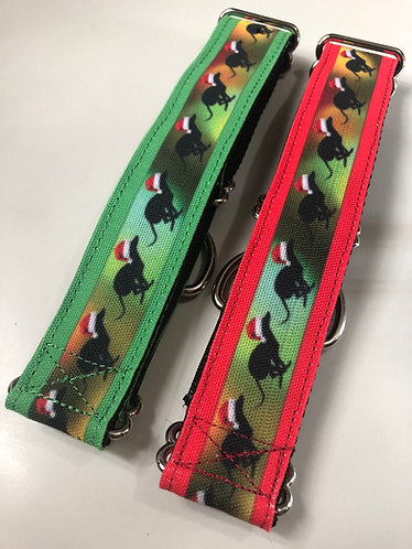 Running greyhound Santa hat martingale
