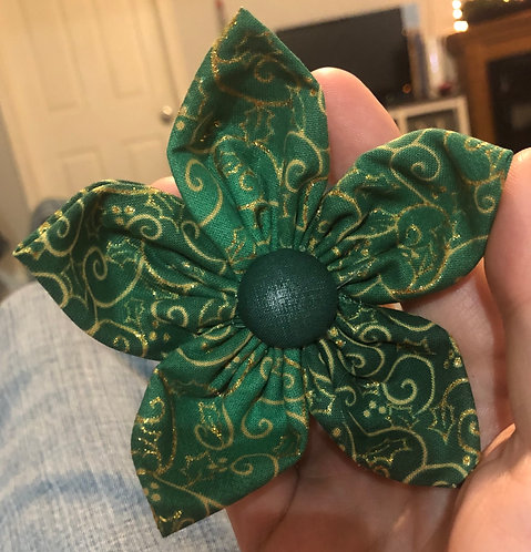 "4"" flower green and gold"