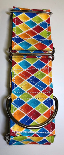 Colorful diamonds martingale with embroidery