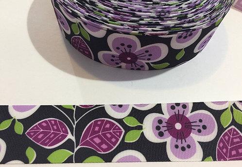 Purple Flowers on Black Martingale