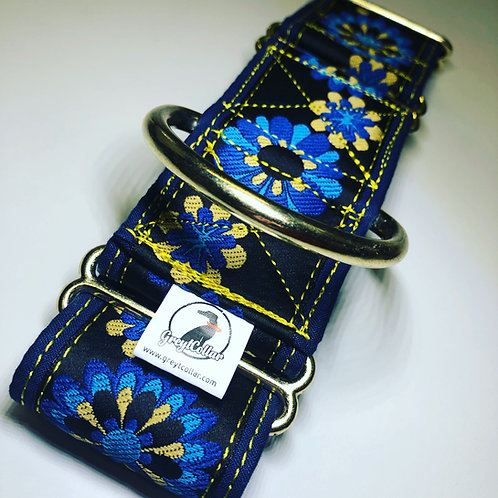 """Full floral navy wrap 2"""" gold hardware"""