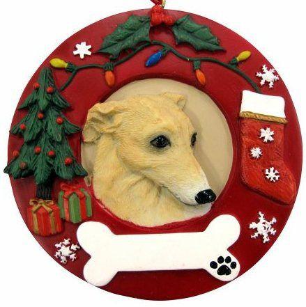 Greyhound, fawn & White Christmas Ornament