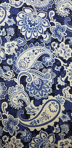 Blue and White flowers Paisley Martingale