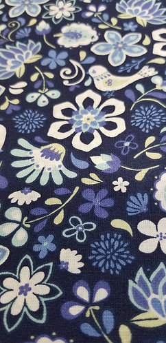 Blue Blossom Floral Martingale