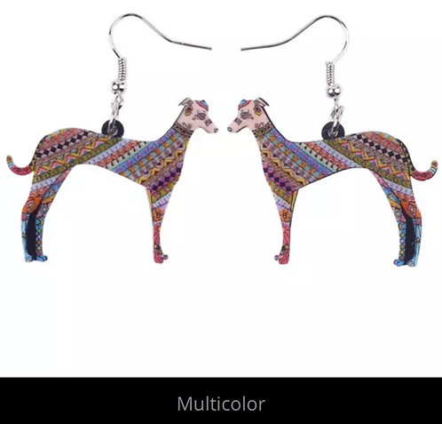 Multicolor greyhound earrings