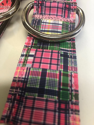 Green and pink plaid martingale