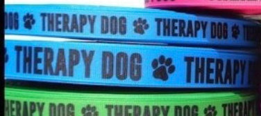 """1"""" blue therapy dog tag collar black plastic buckle"""