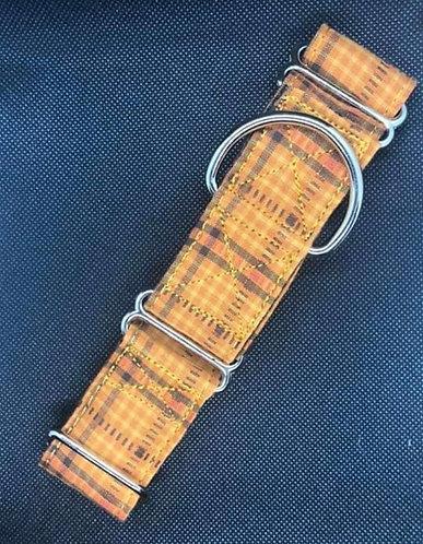 orange autumn plaid tag/house buckle adjustable collar