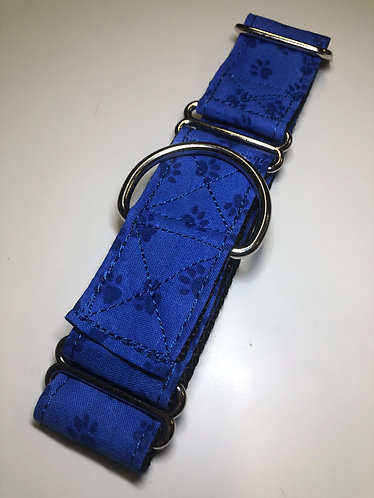 "2"" blue paw print martingale"