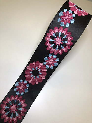 Pink and blue floral woven martingale