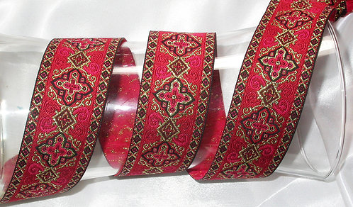 Fancy Red and gold jacquard collar with Swarovski