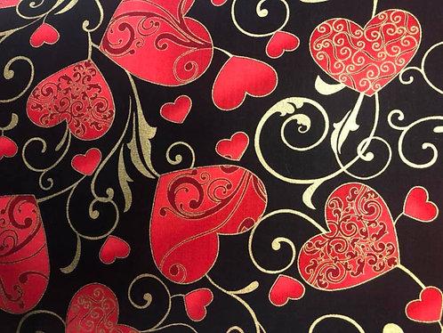 Gold swirl red Valentine hearts collar