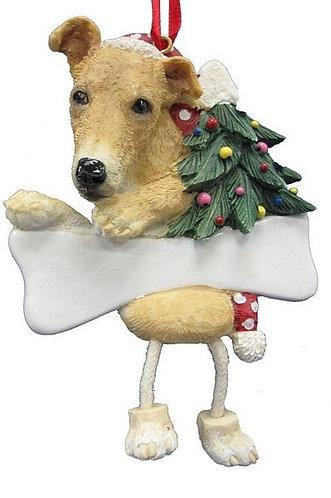 Fawn & White Greyhound Ornament