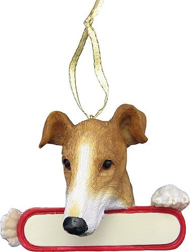 Fawn & White Greyhound Christmas Ornament