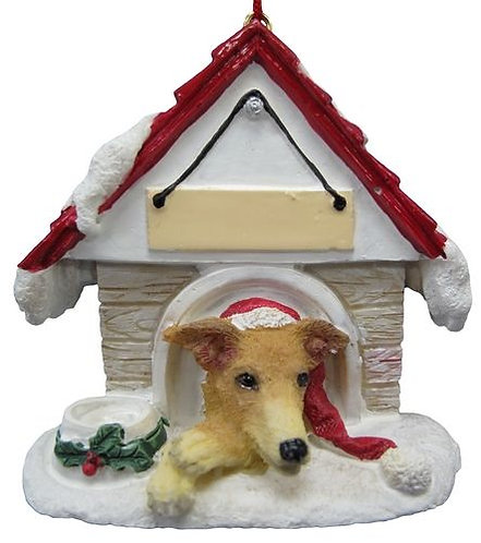 Fawn & White Greyhound Christmas Ornament
