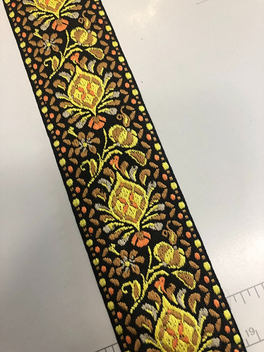 """2"""" yellow and black woven  fabric wrapped in yellow martingale"""