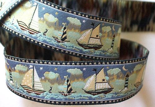 Sailboats Embroidery Jacquard martingale