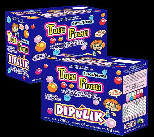 Kit 02 Displays DipnLik de 25 unidades cada Sabor Tutti Frutti. Total 50 unids.
