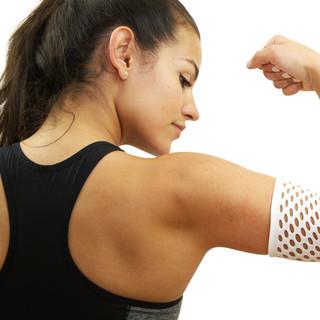 扭邊得治彈性繃帶-網狀-手肘-女生健身身