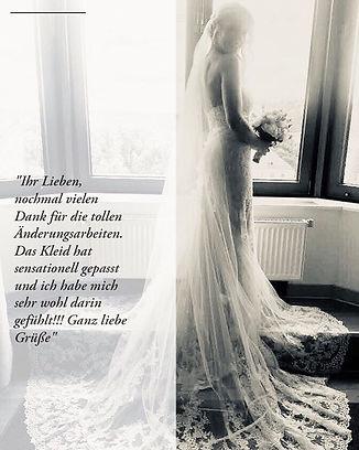 Brautkleidänderung Brautkleid ändern lassen Hochzeitskleid anpassen lassen glückliche und zufriedene Braut Atelier Brautzauber