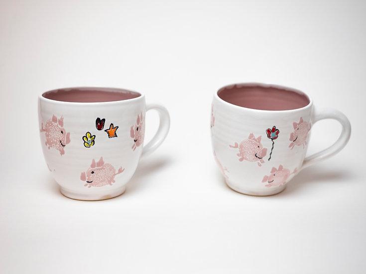 Zwei Tassen - Schweine (hellrosa)