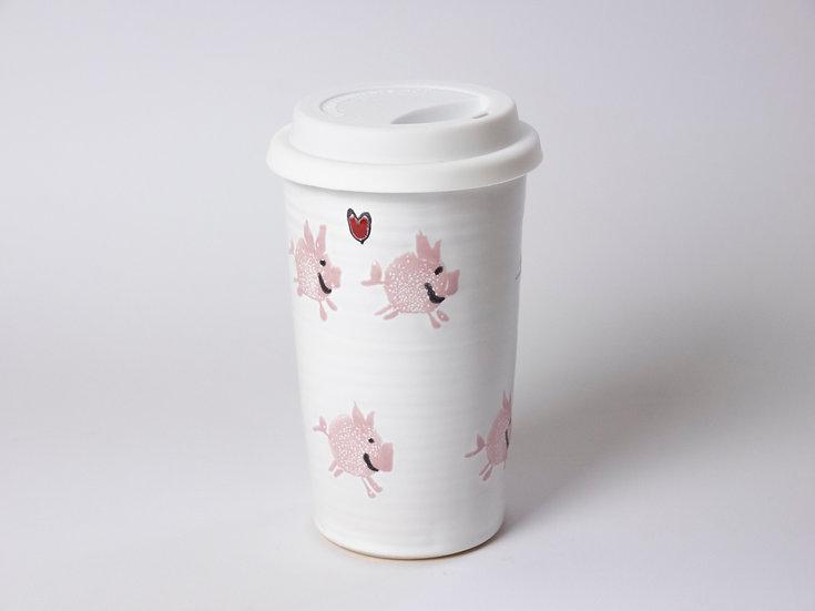 Coffee to go - weiß mit Schweinen