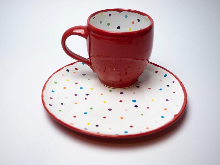 Set - Teller + Tasse Punkte
