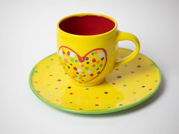 Set - Teller + Tasse gelb