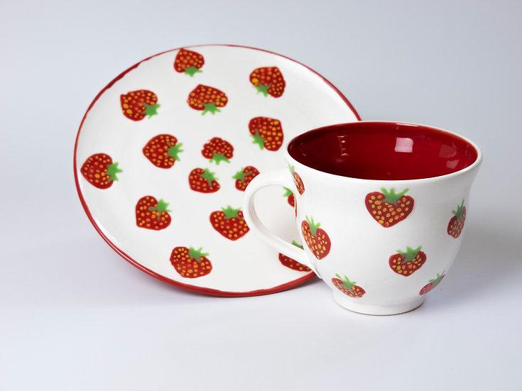 Set - Tasse & Teller Erdbeeren