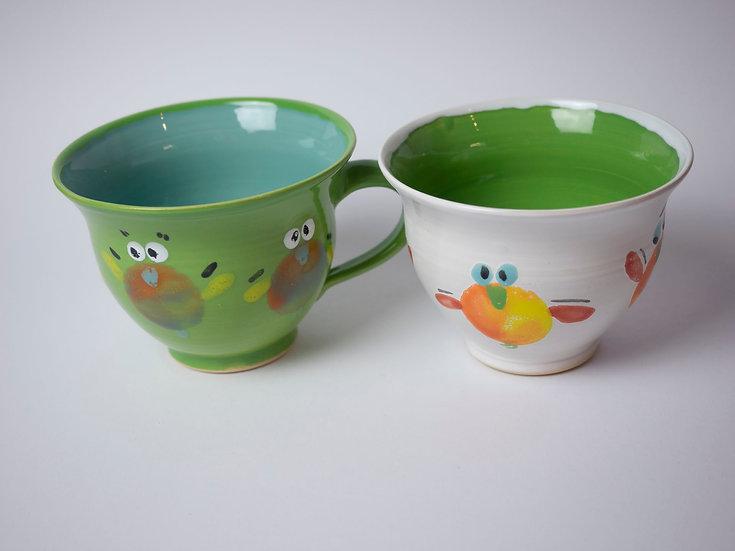 Set - 2 Tassen grün/weiß Vögel