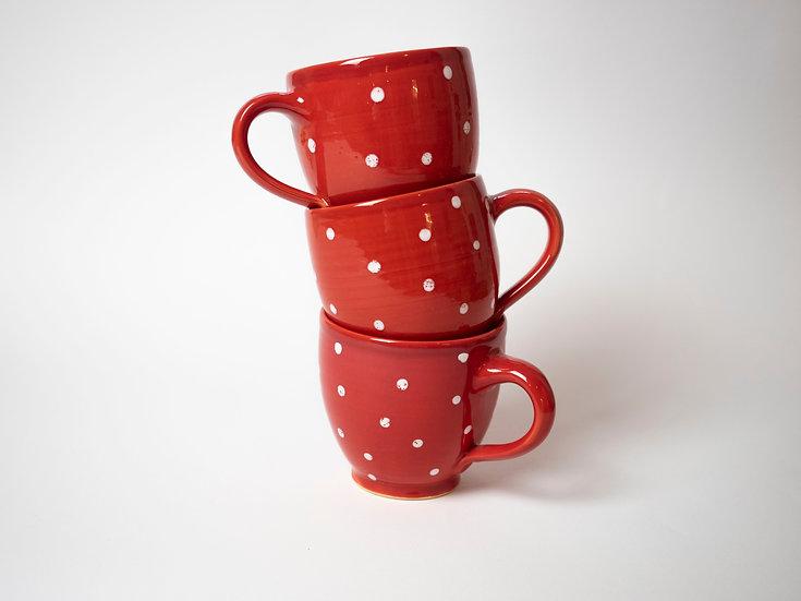 Set - 3-teilig, Rot/weiße Tassen