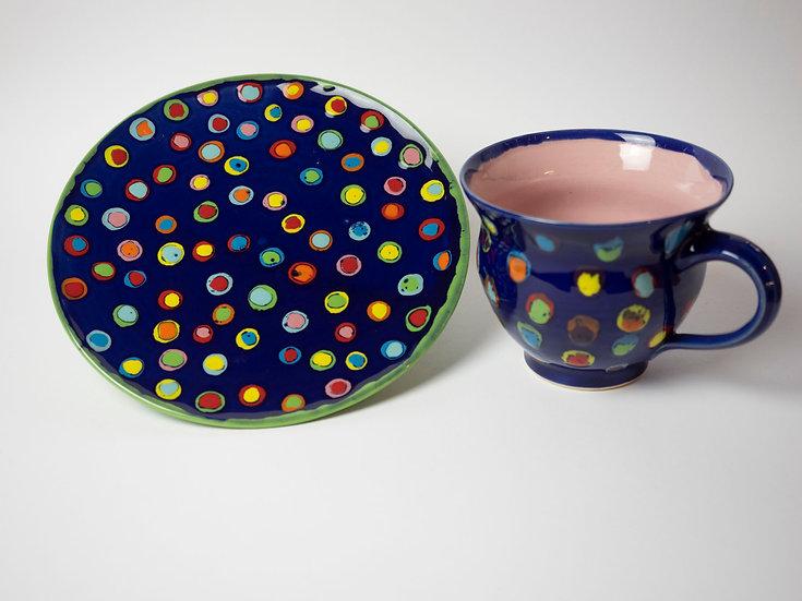 Set - Tasse + Teller dunkelblau